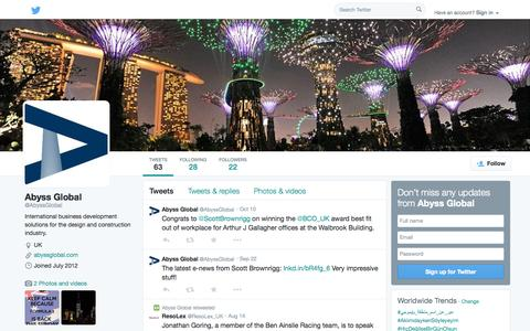 Screenshot of Twitter Page twitter.com - Abyss Global (@AbyssGlobal) | Twitter - captured Oct. 23, 2014
