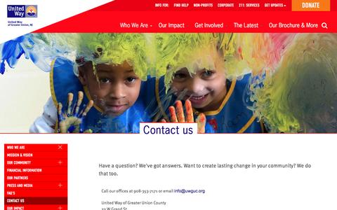 Screenshot of Contact Page uwguc.org - Contact us   United Way of Greater Union County - captured Dec. 18, 2016