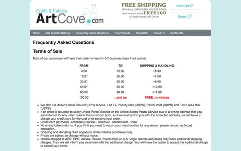 Screenshot of Terms Page artcove.com - Frequently Asked Questions, Art Cove Ltd. - captured June 14, 2016