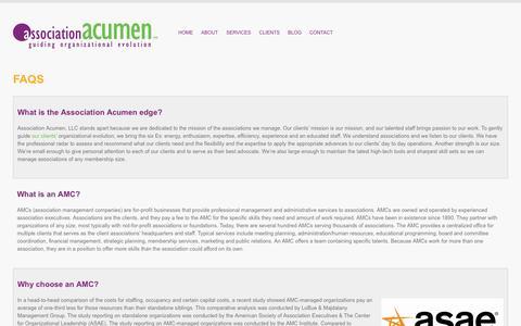 Screenshot of FAQ Page associationacumen.com - Association management questions and answers. : Association Acumen, LLC - captured Nov. 6, 2018