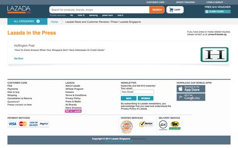 Screenshot of Press Page lazada.sg - Lazada News and Customer Reviews | Press | Lazada Singapore - captured Sept. 18, 2014