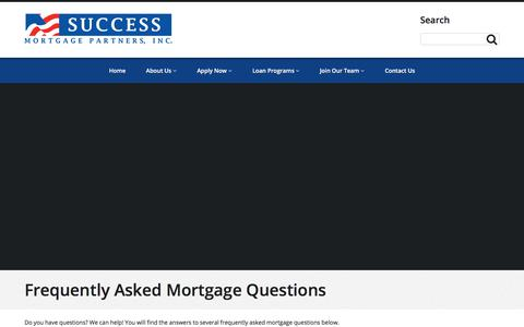 Screenshot of FAQ Page successmortgagepartners.com - Frequently Asked Mortgage Questions - captured Nov. 2, 2017