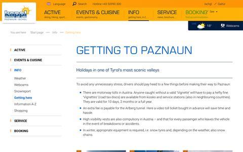 Screenshot of Maps & Directions Page kappl.com - Getting to Paznaun - Ischgl, Tyrol - captured June 8, 2016