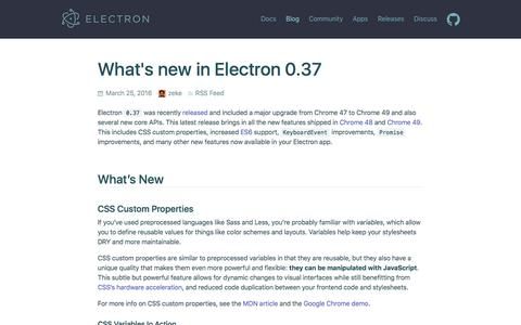 Screenshot of Blog atom.io - What's new in Electron 0.37 - captured May 11, 2016