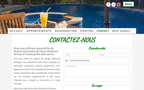 Screenshot of Contact Page chawengnoi-residence.com - Contact - Chaweng Noi residence Koh Samui - location appartement, location vacances, appartement chaweng koh samui - captured Oct. 29, 2018