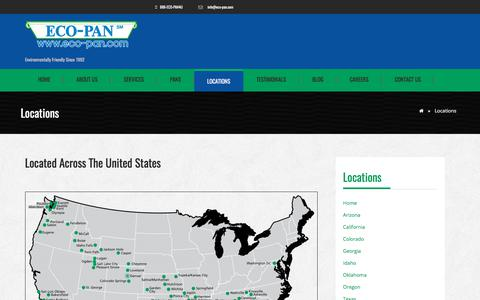 Screenshot of Locations Page eco-pan.com - Locations | Eco-Pan - captured July 8, 2017