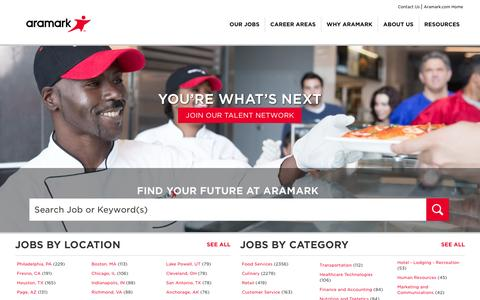 Screenshot of Jobs Page aramark.com - Our Jobs | Careers | Aramark - captured March 13, 2017