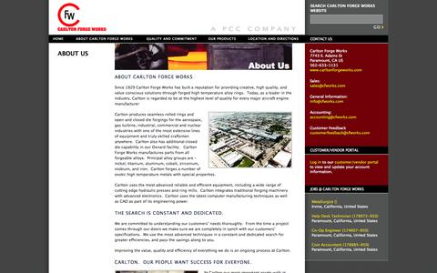 Screenshot of About Page carltonforgeworks.com - Welcome to Carlton Forge Works - captured Oct. 2, 2014