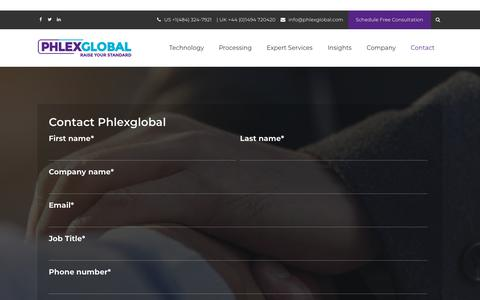 Screenshot of Contact Page phlexglobal.com - Contact Phlexglobal - captured Dec. 7, 2018