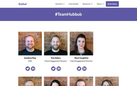 Screenshot of Team Page hubbub.net - The Team Behind Hubbub Fundraising - captured Sept. 30, 2018