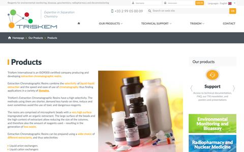 Screenshot of Products Page triskem-international.com - TrisKem International - Reagents for environmental monitoring, bioassay, geochemistry, radiopharmacy and decommissioning - captured Sept. 30, 2018