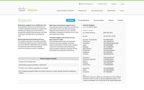 Screenshot of Privacy Page Support Page Terms Page cisco.com - Cisco Meraki Support - captured Oct. 22, 2014