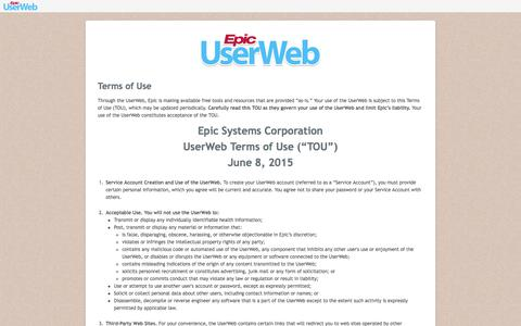 UserWeb Terms of Use