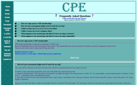 Screenshot of FAQ Page k9cpe.com - CPE Frequently Asked Questions - captured May 22, 2016