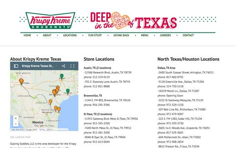 Screenshot of About Page Locations Page krispykremetexas.com - Krispy Kreme Texas | About Krispy Kreme Texas - captured July 5, 2017