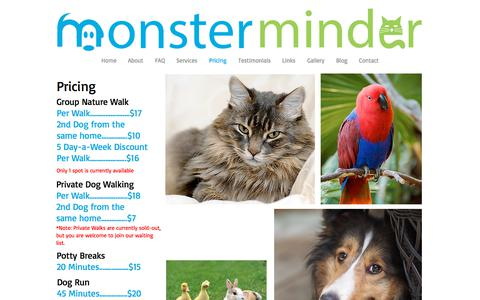 Screenshot of Pricing Page monsterminder.com - Monster Minder Pet sitting in Ajax Whitby Brooklin Oshawa Ontario - captured Oct. 9, 2017