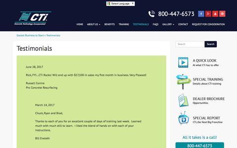 Screenshot of Testimonials Page flycti.com - Testimonials on Concrete Technology Inc. - captured Aug. 14, 2017