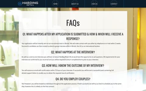 Screenshot of FAQ Page hardingretail.com - FAQs - Harding Retail - captured Sept. 30, 2014