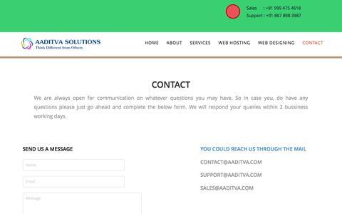 Screenshot of Contact Page aaditva.com - Aaditva Solutions - captured Feb. 5, 2016
