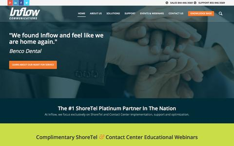 Screenshot of Home Page inflowcomm.com - Contact Center and Unified Communications Solution - captured Oct. 15, 2017