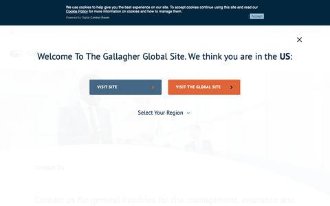 Screenshot of Contact Page ajg.com - Contact Us | Gallagher - captured May 16, 2019