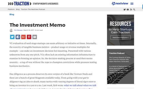 Screenshot of Blog nextviewventures.com - The Investment Memo - NextView Ventures - captured April 17, 2017