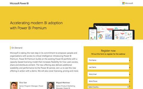 Screenshot of Landing Page microsoft.com - Accelerating modern BI adoption with Power BI Premium Webinar  | Microsoft Webinar - captured June 17, 2017