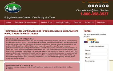 Screenshot of Testimonials Page aquarec.com - Aqua Rec's Read Testimonials for Our Fireplaces, Pools, and Spas in Pierce County - captured Oct. 4, 2014