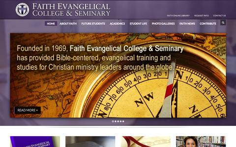 Screenshot of Home Page faithseminary.edu - Faith Evangelical College and Seminary | Pacific Northwest - captured Oct. 5, 2014