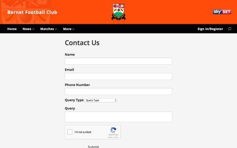 Screenshot of Contact Page barnetfc.com - Contact Us - captured June 1, 2017