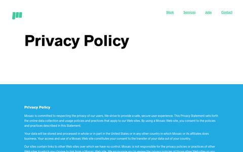 Mosaic | Privacy Policy