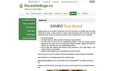 Screenshot of About Page reusablebags.ca - Excellent source for eco-friendly reusable shopping bags. Buy online. Custom designs. Satisfaction guaranteed. - Reusable Bags.ca - About Us - captured Oct. 18, 2018