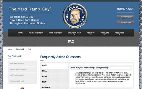 Screenshot of FAQ Page yardrampguy.com - FAQs on Buying or Renting New & Used Ramps | The Yard Ramp Guy® - captured Oct. 26, 2017