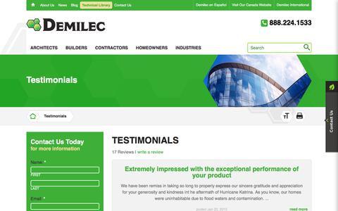 Screenshot of Testimonials Page demilec.com - Demilec Inc.   Testimonials - captured Aug. 6, 2018