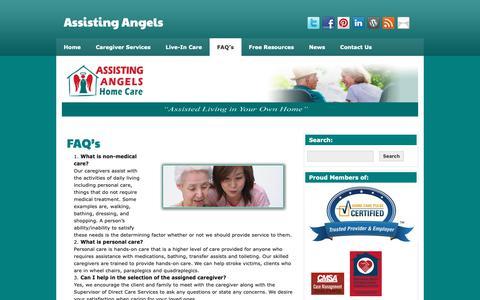 Screenshot of FAQ Page assistingangels.biz - FAQ's | Assisting Angels - captured Nov. 13, 2018
