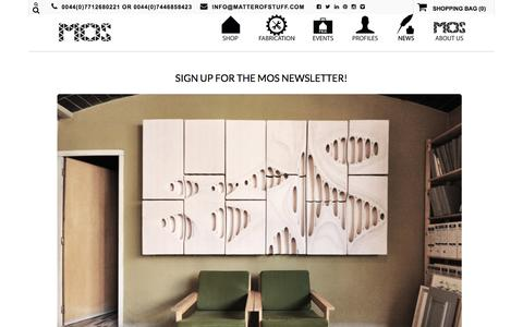Screenshot of Signup Page matterofstuff.com - » SIGN UP FOR THE MOS NEWSLETTER - captured Aug. 9, 2016