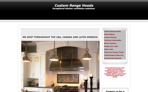 Screenshot of Home Page customrangehoods.ca - CUSTOM RANGE HOODS OAKVILLE CANADA - captured Sept. 30, 2014