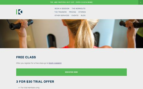 Screenshot of Trial Page kineofit.com - Free trial class — Kineo Fit - captured Sept. 20, 2018