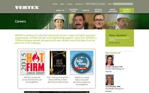 Screenshot of Jobs Page vertexeng.com - VERTEX Careers and Engineering Employment | The Vertex Companies - captured Feb. 4, 2016