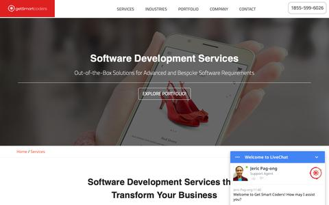 Screenshot of Services Page getsmartcoders.com - Outsource Software Development Services and IT Consulting Services - captured Oct. 19, 2018