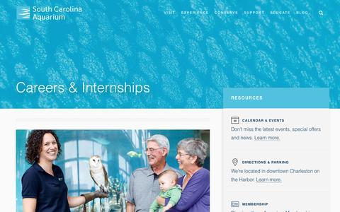 Screenshot of Jobs Page scaquarium.org - Careers - Jobs and Internships - South Carolina Aquarium - captured Dec. 16, 2018