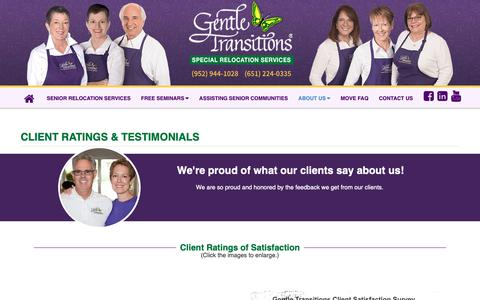 Screenshot of Testimonials Page gentletransitions.net - Senior Moving Client Ratings & Testimonials - Gentle Transitions Minnesota - captured Sept. 27, 2018