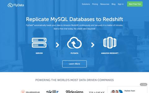 Screenshot of Home Page flydata.com - FlyData | Real Time MySQL Replication to Amazon Redshift - captured July 3, 2016
