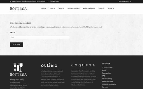 Screenshot of Signup Page botteganapavalley.com - Mailing List – Bottega Napa Valley - captured Oct. 6, 2018