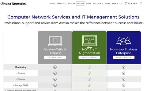 Screenshot of Pricing Page alvaka.net - Computer Network & Managed Services Pricing - Alvaka Networks - captured Oct. 8, 2017