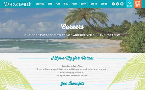 Screenshot of Jobs Page margaritaville.com - Margaritaville | Careers - captured Jan. 26, 2017