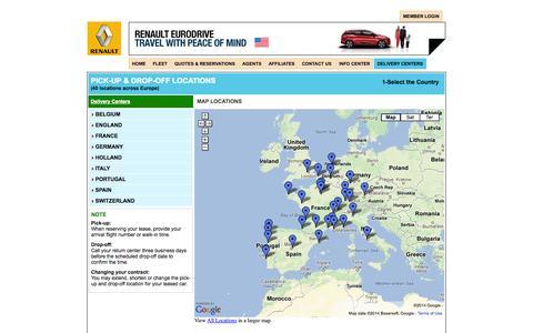 Screenshot of Locations Page renaultusa.com - Car Rentals Leases in Europe - Login - rent a car in Europe, lease car in France, Lease car in France, Italy, Belgium, Spain, Switzerland, Portugal, Great Britain - captured Oct. 7, 2014
