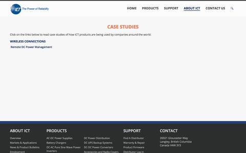 Screenshot of Case Studies Page ict-power.com - Case Studies - Innovative Circuit Technology - captured Oct. 15, 2017