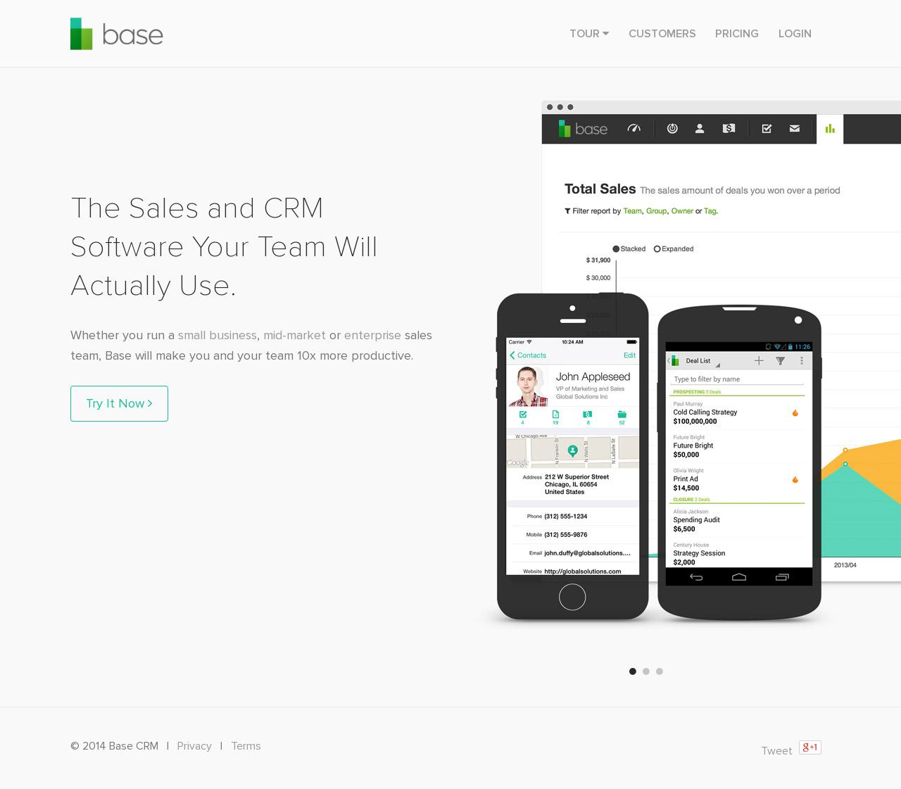 Screenshot of getbase.com - The Post-PC CRM | Base CRM - captured July 10, 2014