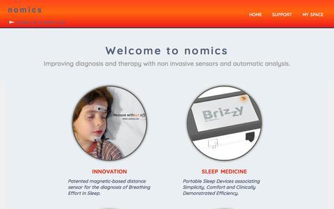Screenshot of Home Page nomics.be - Sleep & Breathing | Nomics - captured July 13, 2018